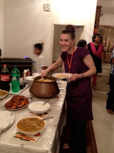 Me at a late-night dinner party in Bangalore, India, 2012.